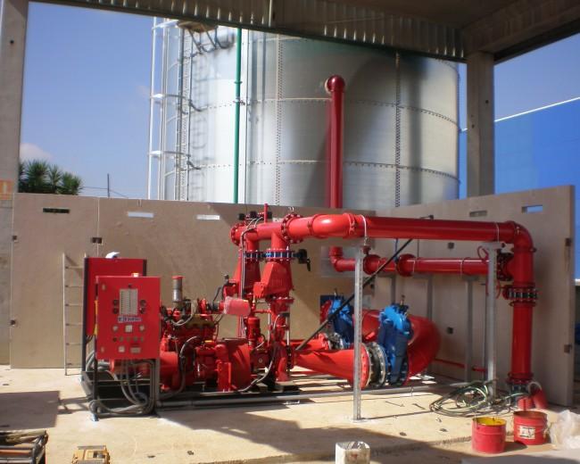 Equipo de bombeo de 400 m3/h, rociadores ESFR e hidrantes de arqueta