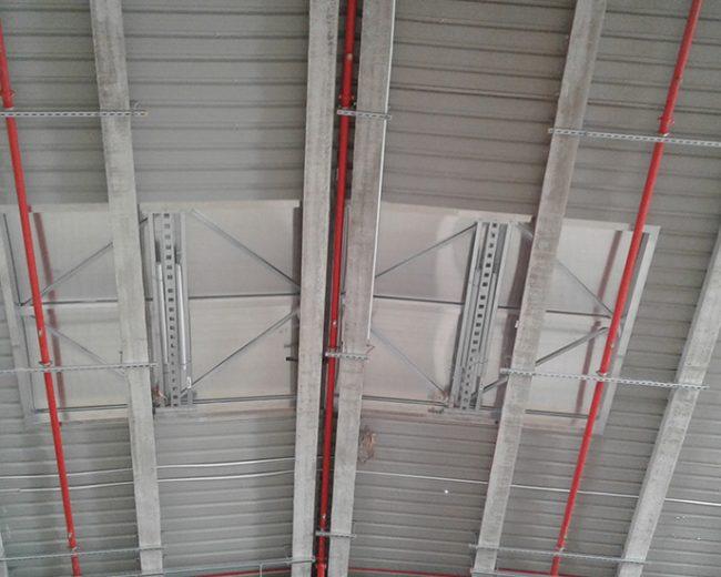 Protección contra incendios mediante rociadores automáticos, control de temperatura y evacuación de humos y detección de humos por aspiración